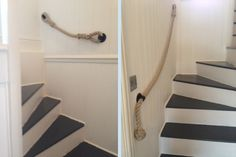 Natural Hemp Rope with Blacksmith Brackets Rope Railing, Stair Banister, Banisters, Stairs, Handrail Brackets, French Farmhouse, Blacksmithing, Hemp, Scale