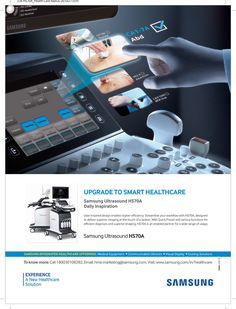 Healthcare Equipment ad design by Samsung in Healthcare Radius Magazine (click here to advertise)
