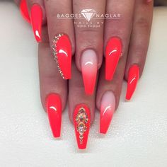 One stroke 'Neon coral' and 'Fusion gel' with swarovski crystals on natural nail