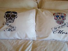 Dia De Los Muertos Pillowcases - Day of the Dead, Mr. and Mrs. Pillow case pair - Sugarskull Wedding gift on Etsy, $40.00