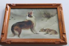 Vintage Collie Dog Standing over Newborn Lamb Print by PeggysTrove, $20.00