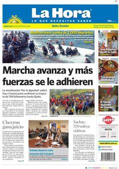 """Acá nuestra portada de hoy, 5 de agosto del 2015. Tema destacado """" Marcha avanza y más fuerzas se le adhieren""""."""