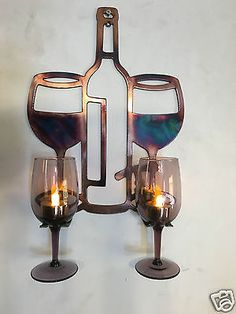 Details about Wine Glass Holder Metal Wall Art - Metal Projects, Metal Crafts, Welding Projects, Metal Artwork, Metal Wall Art, Wine Glass Holder, Welding Art, Welding Tips, Concrete Lamp