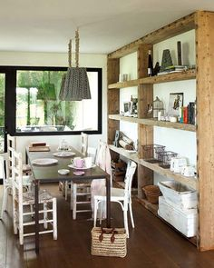 Raw wood shelving. Simple to make and would look great in an all white farmhouse kitchen!