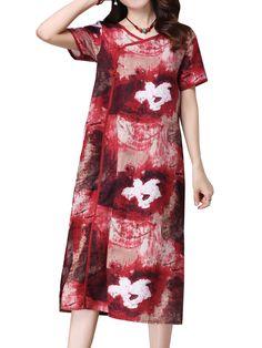 Sale 24% (22.69$) - Women Vintage Chinese Frog Flower Printed Split Maxi Dress