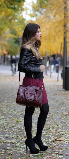 #winter #fashion / leather + burgundy skirt