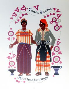 Trajes for men and women from Todos Santos Guatemala are shown in this print by artist Carlos Merida. The man is wearing a shirt like that shown in the previous photo