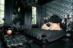 Black bedroom. Gothic decor.