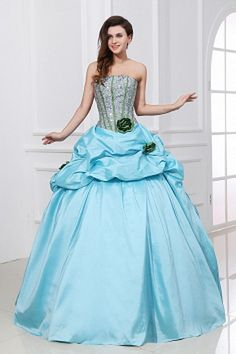 Strapless Modern Blue Celebrity Gowns - Order Link: http://www.theweddingdresses.com/strapless-modern-blue-celebrity-gowns-twdn2229.html - Embellishments: Flower , Crystal , Ruched , ; Length: Floor Length; Fabric: Taffeta; Waist: Natural - Price: 152.84USD