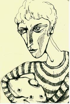 """""""Jona"""" by Anya Katamari   #illustration #katamariart #handdraw #graphics #black #white #boy #anyakatamari #hangdrum #hangdrumboy"""