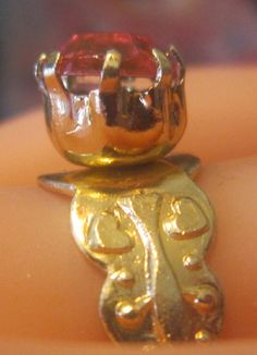 Vintage Gold and Pink Rhinestone Ring - Size 6.5 (Adjustable Up in Size) - R-095