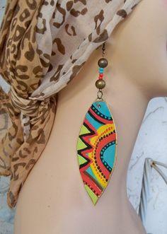 African Earrings Aztec Southwest ethnic earrings by Georgiasita Fabric Earrings, Paper Earrings, Wooden Earrings, Fabric Jewelry, Diy Earrings, Leather Earrings, Clay Jewelry, Diamond Earrings, African Earrings