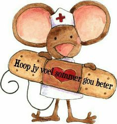 Get well soon! Love and hugs. Well Images, Get Well Wishes, Arts And Crafts, Paper Crafts, Cute Clipart, Get Well Soon, Get Well Cards, Afrikaans, Cute Illustration
