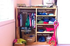 I'm so into the Montessori attitudes towards teaching your child personal-care independence. Love this clothes station.