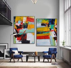 Set Of 2 contemporary art on canvas, hand painted large painting from CZ ART DESIGN, for contemporary home and modern interiors. @CeilneZiangArt
