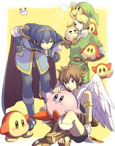 Smash bros. Link (legend of Zelda ) Marth (Fire emblem) King dedede's minions (don't know what they're from) Pit (Kid icarus)  Kirby (Kirby....obviously)
