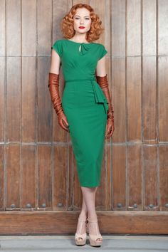 New Stop Staring! collection - The 40s Timeless vintage green pencil dress is a real treasure which takes its inspiration from the elegant 1940s styles and still remains timeless. Such as Coco Chanel once said: fashion fades, style remains.