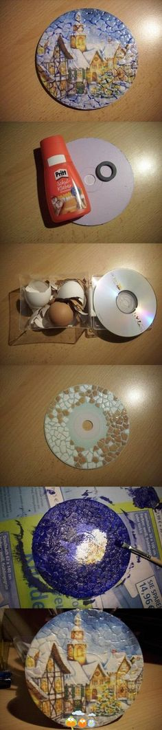 Photo tutorial (limited) on how to make a mosaic picture recycling an old CD and crunched up egg shells (for texture), and painting a scene on the CD textured surface...thinking you could decoupage a picture as well, if it was thin enough quality to maintain the mosaic texture surface, maybe