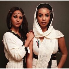 queenbeph:  Beautiful Habasha sisters in their traditional telfe/Habasha Kemis and decorative head jewelry||| #africanfabric #elegant #class...