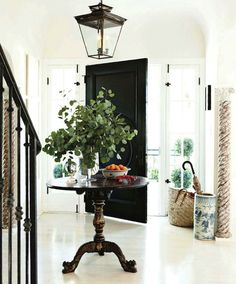 All aspects of this entryway are great...from the black interior door, to the touches of nature brought indoors.