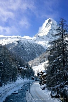 Village under Matterhorn, Zermatt, Switzerland