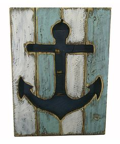 This Blue & White Anchor Wall Art is perfect! #zulilyfinds