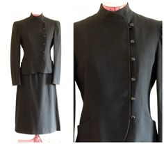 Black wool crepe skirt suit with tailored jacket and mandarin collar by TimeTravelFashions on Etsy