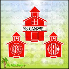 Little Red Schoolhouse Monogram Base and Split Digital Clipart Instant Download Full Color SVG DXF EPS Jpeg Png - pinned by pin4etsy.com