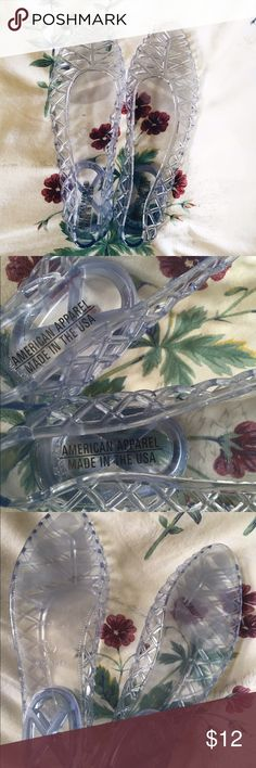 Clear Jelly Slip Ons NWOT! Never worn. Clear, size 6. 🌸 Items are final sale, all offers considered. Please contact me if there are any issues with your order before leaving feedback, that way I can actively work to fix it! 😃 American Apparel Shoes