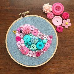 Pink Bird Embroidery Hoop Art by PaintedWithButtons