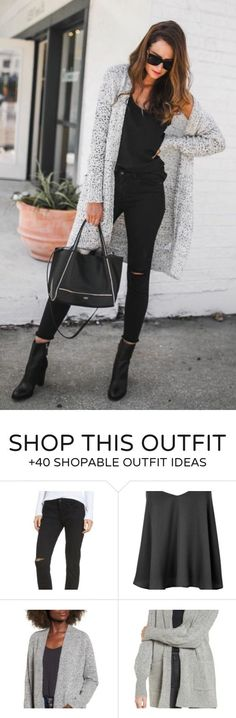 #fall #outfits women's black scoop-neck tank top, distressed black denim jeans, gray open cardigan, black two-way tote bag, and black leather boots