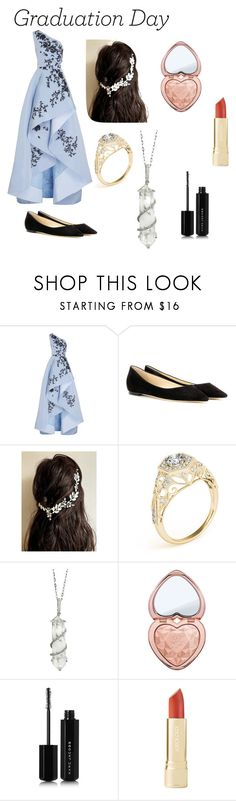 """""""grade 12 graduation"""" by ginnymollyweasley ❤ liked on Polyvore featuring Monique Lhuillier, Jimmy Choo, Sharon Khazzam, Too Faced Cosmetics and Marc Jacobs"""