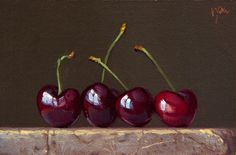 """""""Still Life with Four Cherries on Marble"""" oil painting by Abbey Ryan Oil Painting Frames, Fruit Painting, Still Life Drawing, Painting Still Life, Cherry Pics, Still Life Fruit, Watercolor Fruit, Fruit Photography, Foto Art"""