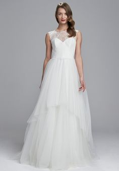 Illusion lace bodice and back with tiered tulle ballgown skirt | Nouvelle Amsale Berwyn | http://knot.ly/64908ENNu