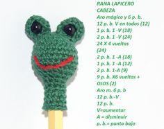AMIGURUMIS AND CROCHET: PAP RANITA Amigurumi Tutorial, Crochet Patterns Amigurumi, Amigurumi Doll, Crochet Toys, Free Crochet, Crochet Chain Stitch, Crochet Stitches, Paperclip Bookmarks, Pen Toppers