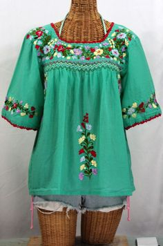 """La Marina"" Embroidered Mexican Peasant Blouse - Mint + Red Trim #bohemian #hippie #summer #siren #fashion"