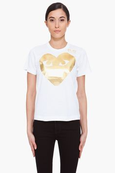 maybe the cutest tee ever? // play comme des garons gold foil tee