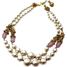 Vintage Miriam Haskell signed baroque pearl purple glass bead rhinestone two strand necklace..