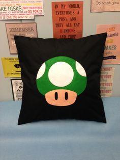 Toad Black Super Mario Bros Retro Cushion Pillow by BeUniqueBaby