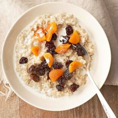 Why do we love this slow cooker oatmeal? Besides being totally delicious, it uses only three ingredients, takes 10 minutes to prep, and is ready to eat when you wake up in the morning. Bonus: Hearty steel-cut oats fill you up and keep you going throughout the morning.
