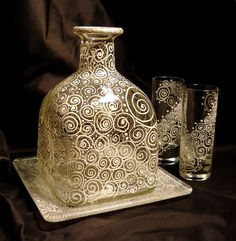 Hand Painted Decanter Serving Set