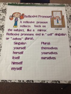 Reflexive Pronouns 5th Grade Writing, 2nd Grade Ela, Second Grade Teacher, Writing Classes, Teaching First Grade, 2nd Grade Reading, Writing Lessons, Student Teaching, Teaching Ideas