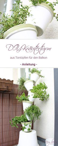 DIY herb tower made of clay pots for the balcony – Mary Loves – Garten Herb Garden Design, Modern Garden Design, Balcony Garden, Garden Pots, Herbs Garden, Pots D'argile, Painted Clay Pots, Formal Gardens, Diy Garden Projects