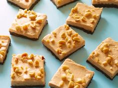 No-Bake Peanut Butter-Chocolate Bars : These creamy bars contain natural peanut butter and Greek yogurt, plus a chocolate-cookie crust. No baking is necessary; the dessert sets in the refrigerator. via Food Network Köstliche Desserts, Healthy Dessert Recipes, Healthy Baking, Gourmet Recipes, Delicious Desserts, Healthy Meals, Holiday Desserts, Healthy Food, Baking Recipes