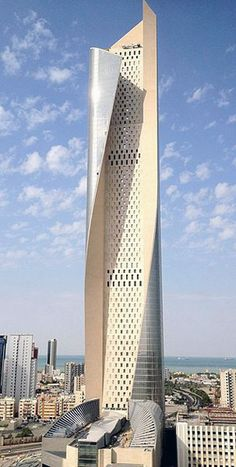 The Al Hamra Tower, Kuwait City, Kuwait. Designed by architectural firm Skidmore, Owings and Merrill.