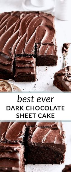 Rich and decadent dark chocolate sheet cake topped with perfect chocolate buttercream frosting makes the best chocolate cake! Best Chocolate Cake, Chocolate Flavors, Chocolate Desserts, Chocolate Buttercream, Chocolate Chocolate, Buttercream Frosting, Sweet Recipes, Cake Recipes, Dessert Recipes