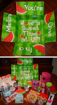 You're One in a Melon care package. Sent a little summer fun to my daughter . You're One in a Melon care package. Presents For Best Friends, Little Presents, Birthday Gifts For Best Friend, Best Friend Gifts, Cute Birthday Gift, Birthday Box, Birthday Presents, Birthday Ideas, Guy Birthday Gifts