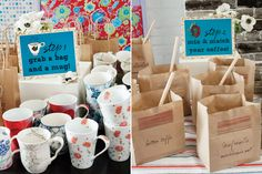 Shower gifts for guests, coffee and mug, great idea! French Inspired Bridal Shower - Creative Bridal Shower Themes   Wedding Planning, Ideas & Etiquette   Bridal Guide Magazine