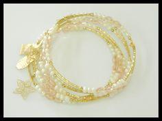 EO00023 Semanario en espiral en chapa de oro 14k con cristal checo AAA y perla natural, color el de la foto, precio $145 pesos