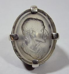 Rock crystal intaglio in sterling ring mount, depicting a Roman, possibly Julius Caesar, c. 1930s.